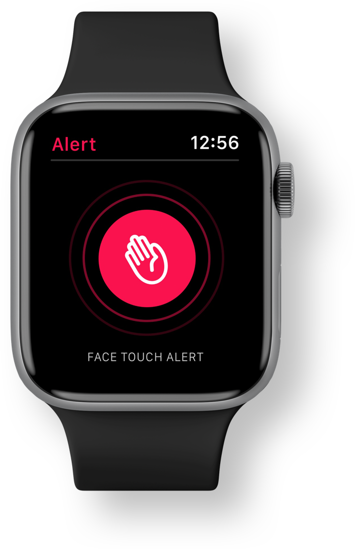 covoid app face touch alert screen